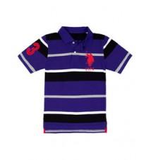 Boys Big Logo Striped Polo Shirt