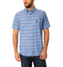 Slim Fit Short Sleeve Stripe Canvas Shirt