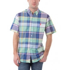 Short Sleeve Woven Large Plaid Madras Shirt