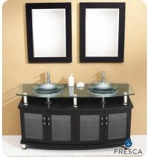 "Fresca Contento 60""  Double Sink Modern Bathroom Vanity w/ Mirror"
