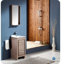 "Fresca Allier 16"" Gray Oak Modern Bathroom Vanity w/ Mirror"