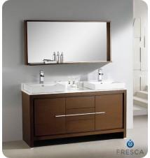 "Fresca Allier 60"" Wenge Brown Modern Double Sink Bathroom Vanity w/ Mirror"