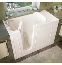 Venzi 26x53 Left Drain Biscuit Whirlpool & Air Jetted Walk In Bathtub