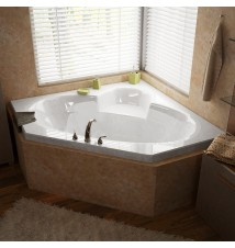 Venzi Ambra 60 x 60 Corner Air Jetted Bathtub with Center Drain